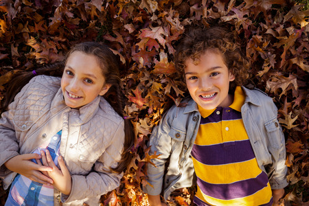 lying on leaves: High angle portrait of smiling siblings lying on autumn leaves at park