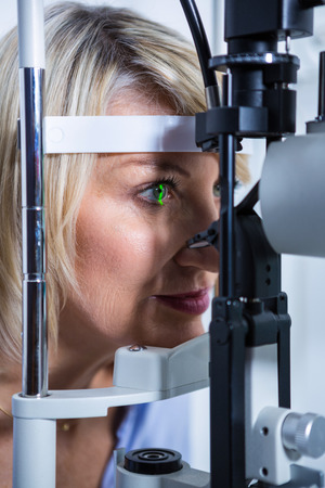 slit: Close-up of eye examination on slit lamp in ophthalmology clinic