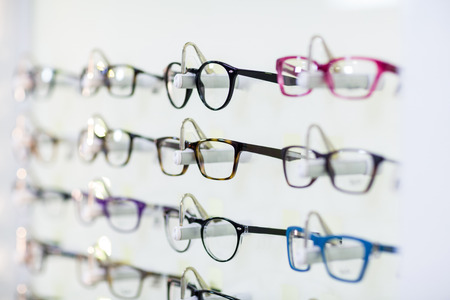 Close-up of various spectacles on display in optical store Reklamní fotografie