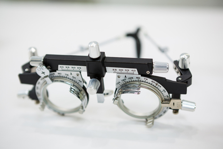 trial indoor: Close-up of trial frame in optical store Stock Photo