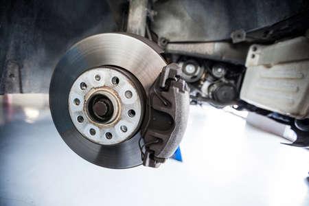 shop skill: Close-up of car brake at the repair garage