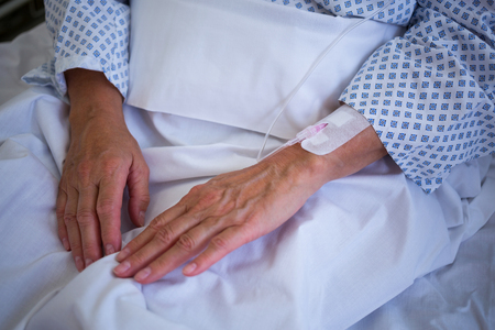 iv: Close-up of patients hand with iv drip in hospital room