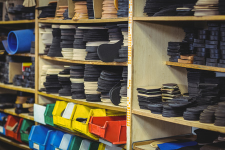 shoe shelf: Shoe insole in shelf in workshop