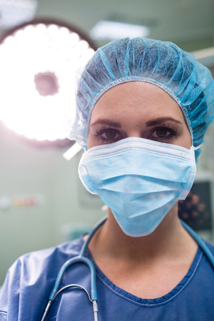 Portrait of surgeon wearing surgical mask in operation room at the hospital