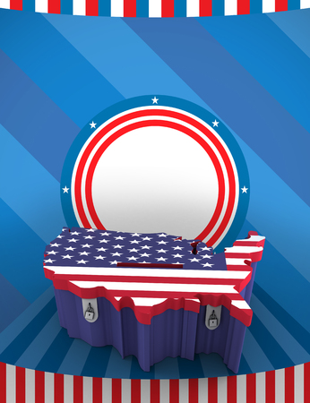 Printed carboard box with united states shape and american flag print
