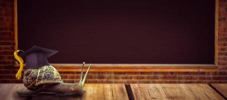 mortar board: Mortar board against large chalkboard in classroom