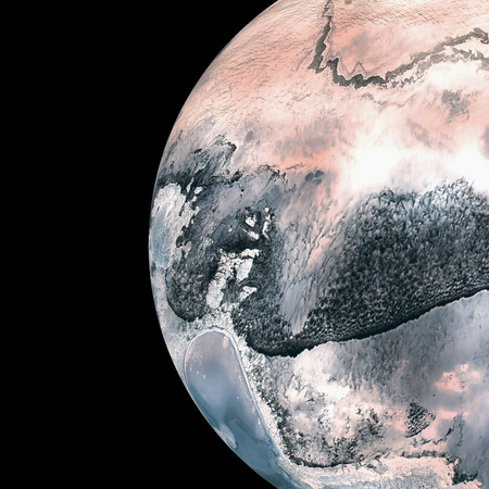 oral communication: Composite image of earth over white background Stock Photo