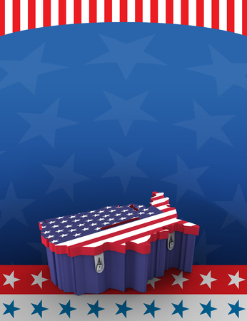 carboard box: Printed carboard box with united states shape and american flag print