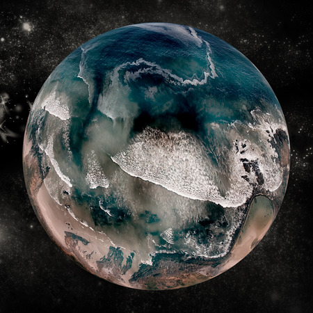 digitally generated image: Digitally generated image of sea covered earth over white background Stock Photo