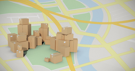 large group of objects: Stack of cardboard box on white background against navigation map