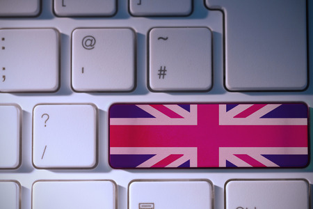 backlit keyboard: Great britain national flag against white background with vignette