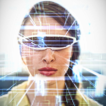 virtual reality simulator: Blue lines next to screens and text against  woman wearing virtual reality simulator  Woman wearing virtual reality simulator at home