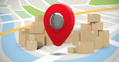 composite image: Cardboard boxes over white background against composite image of navigation map Stock Photo