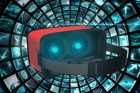 virtual reality simulator: Digital image of red virtual reality simulator against vortex of digital screens in blue