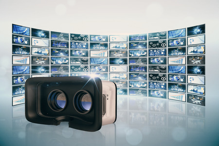 virtual reality simulator: Virtual reality simulator over white background against screen collage showing business images Stock Photo