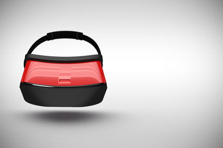 virtual reality simulator: Red virtual reality simulator over white background against grey background