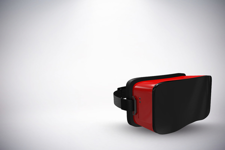 virtual reality simulator: Red virtual reality simulator against white background against grey background