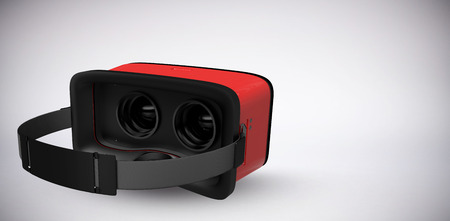 virtual reality simulator: Digital image of red virtual reality simulator against grey background