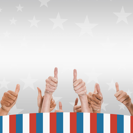 digitally generated image: Digitally generated image of people doing thumbs up behind American flag