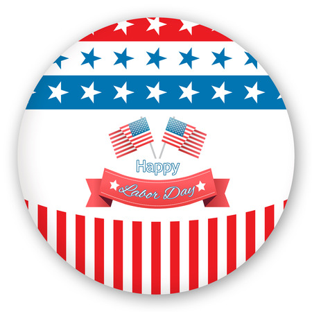 Happy labor day text badge with flags against blue button Stock Photo