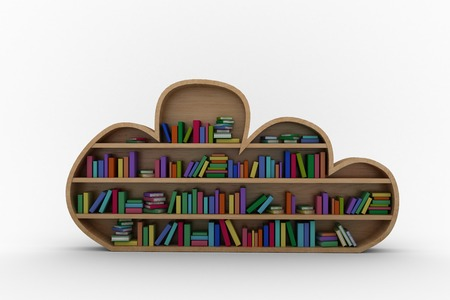 cloud shape: Various colourful books arranged on wooden shelves against white background