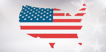 digital image: Digital image of United States of America map with flag against starry bac Stock Photo