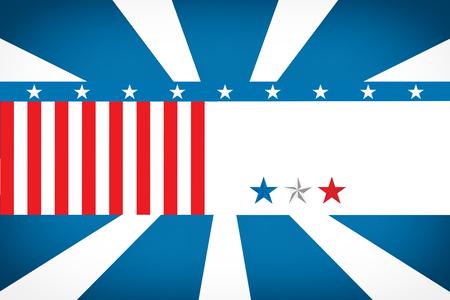 digitally generated image: Digitally generated image of American flag against sunburst Stock Photo