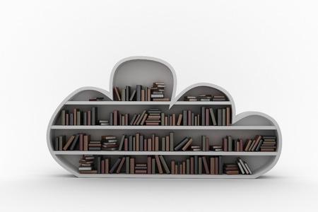 telephone pole: Digital image of books arranged on gray bookshelves against black background