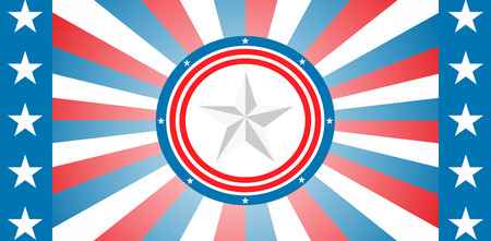 digitally generated image: Digitally generated image of badge against american flag Stock Photo