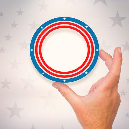 digitally generated image: Digitally generated image of circular ring against American flag