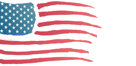 against white: Digitally generated image of American flag against white background