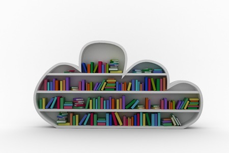 digitally generated image: Digitally generated image of grey shelf with colorful books against black background