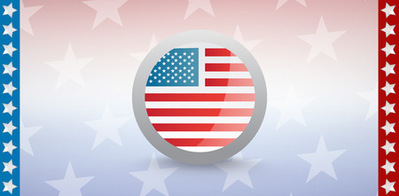 digitally generated image: Digitally generated image of American flag badge with starry background Stock Photo