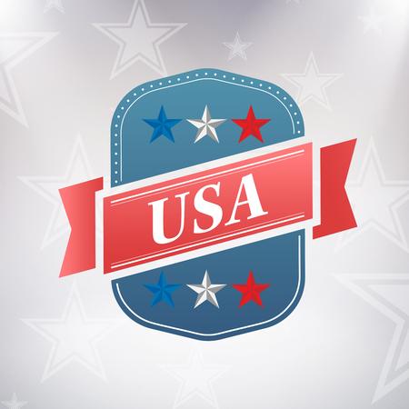 digitally generated image: Digitally generated image of badge against American flag