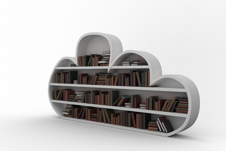digitally generated image: Digitally generated image of gray shelf with various books against black background Stock Photo