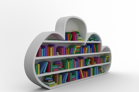 digitally generated image: Digitally generated image of gray shelf with various colorful books against black background Stock Photo