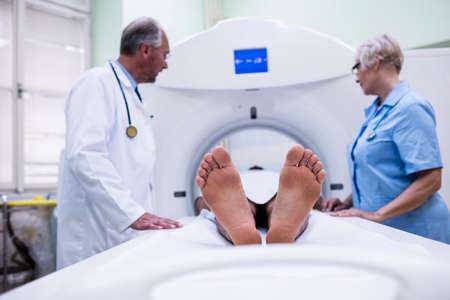 mri scan: Patient entering mri scan machine at hospital