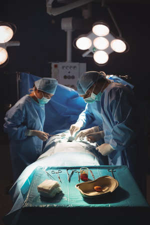 surgical tray: Surgeons performing operation in operation room at the hospital LANG_EVOIMAGES