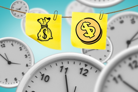 co lour: digital composite of Dollar sign on two notes with clocks and blue background