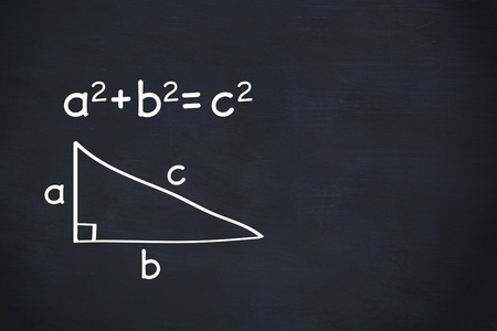 theorem: digital composite of Pythagoras theorem on chalkboard background Stock Photo