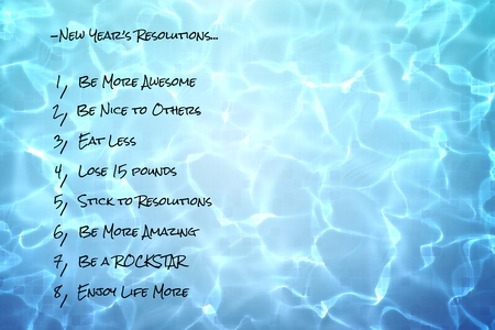 glow stick: digital composite of funny new years resolutions list on pool water background Stock Photo
