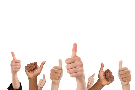 thump: Composite image of multi-ethnic hands thump up