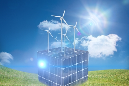 composite of solar panel and wind turbine graphic on green field background
