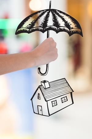 composite of hand holding umbrella graphic above house graphic
