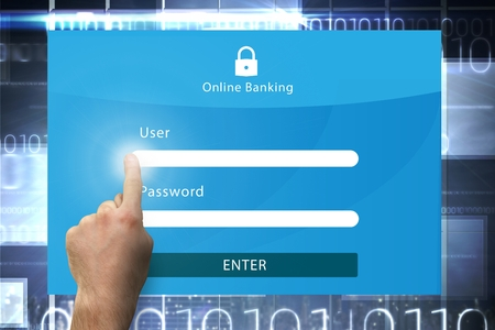 online banking: composite of hand pointing at online banking graphic