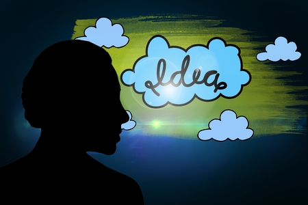 incidental people: Image of woman silhouette with cloud graphic with black background Stock Photo