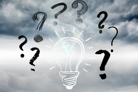 punctuation mark: composite of light bulb and question marks graphics over clouds background Stock Photo