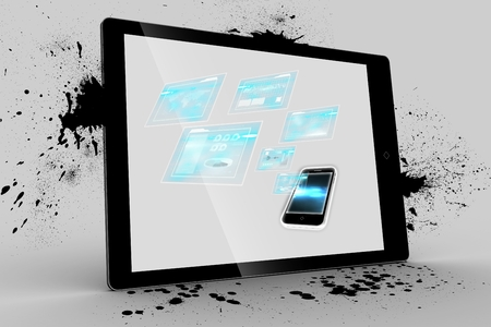 buzz word: Digital composite of smartphone interfaces on tablet