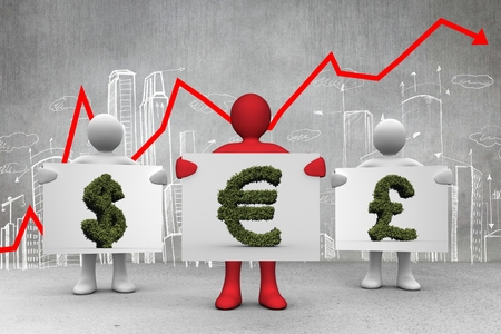 greenery: composite of figures holding vegetation money signs over graph and city background