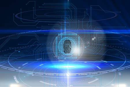 odcisk kciuka: composite of fingerprint identification graphic over blue background